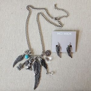 Paco Designs Jewelry - Antique Silver Angel Wing Necklace and Earring Set
